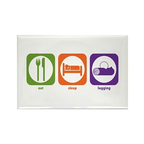 Eat Sleep Logging Rectangle Magnet (100 pack)