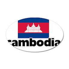I HEART CAMBODIA FLAG 35x21 Oval Wall Decal