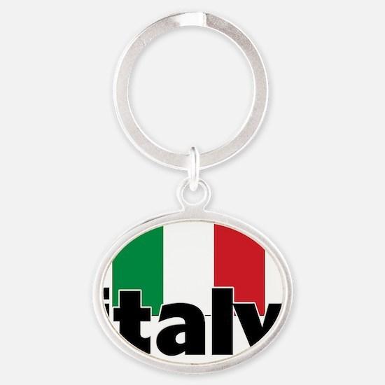 I HEART ITALY FLAG Oval Keychain