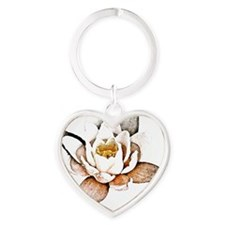 White Lotus Heart Keychain