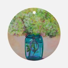 Flowers in Mason Jar Round Ornament