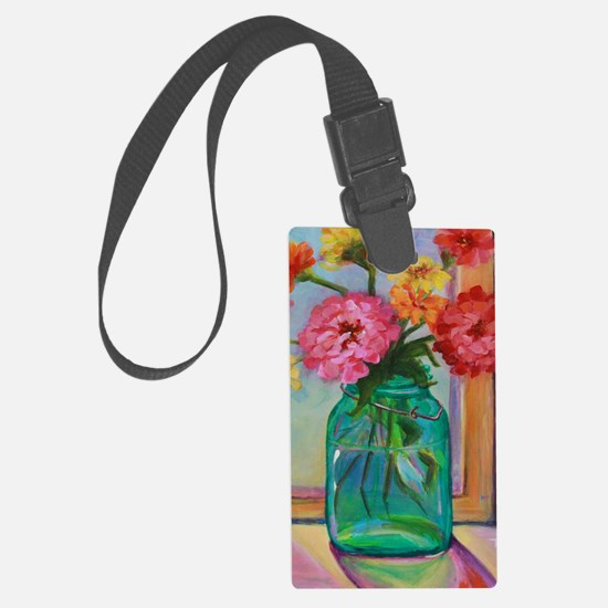 Zinnias in Mason Jar Luggage Tag