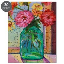 Zinnias in Mason Jar Puzzle