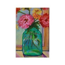 Zinnias in Mason Jar Rectangle Magnet
