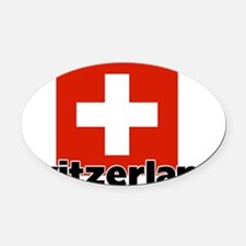 I HEART SWITZERLAND FLAG Oval Car Magnet