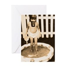 Gas mask Play Greeting Card