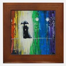 Prismatic Rain Romance Framed Tile