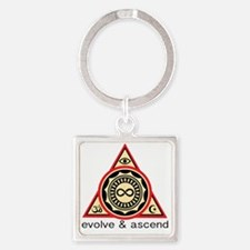 Evolve and Ascend Square Keychain