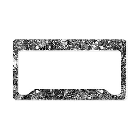Extra Wild Paisley B/W License Plate Holder