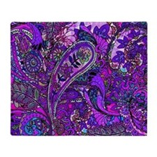 Extra Wild Paisley Purple Throw Blanket