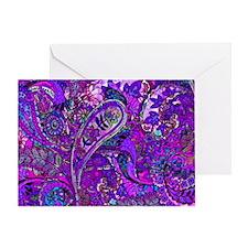 Extra Wild Paisley Purple Greeting Card