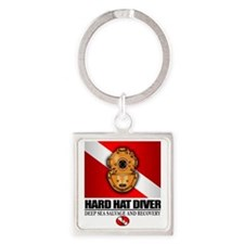 Hard Hat Diver Square Keychain