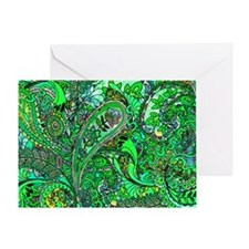 Extra Wild Paisley green Greeting Card