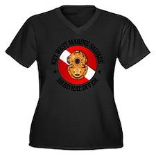 Key West Mar Women's Plus Size Dark V-Neck T-Shirt