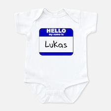 hello my name is lukas  Infant Bodysuit