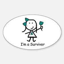 Teal Ribbon - Survivor Oval Decal