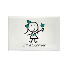 Teal Ribbon - Survivor Rectangle Magnet