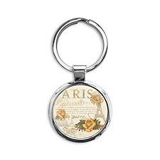 Vintage Paris Round Keychain