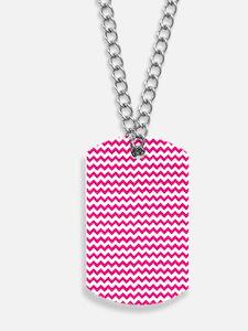 Chevron Zigzag Pattern Hot Pink and White Dog Tags