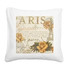 Vintage Paris Square Canvas Pillow