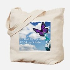 With God by my side PCOS cant hide Tote Bag