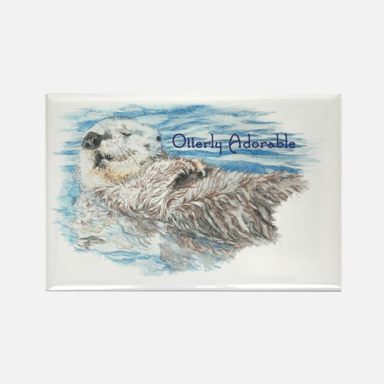Otterly Adorable Humorous Cute  O Rectangle Magnet