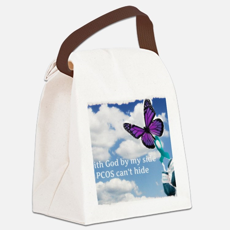 With God by my side PCOS cant hid Canvas Lunch Bag