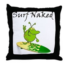 Surf Naked Throw Pillow