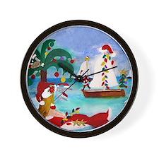 Christmas Boat Parade Wall Clock