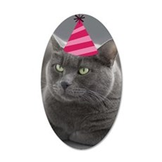 Russian Blue Birthday Card 35x21 Oval Wall Decal