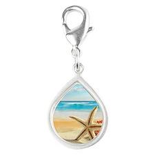 Tropical Beach Silver Teardrop Charm
