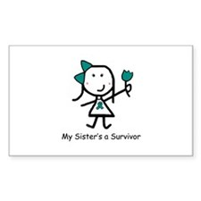 Teal Ribbon - Sister Rectangle Decal