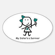 Teal Ribbon - Sister Oval Decal