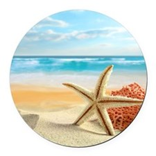 Tropical Beach Round Car Magnet
