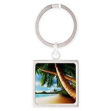Beach Tree Square Keychain