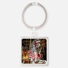 The Carousel Horse Square Keychain