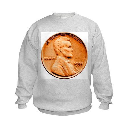 1955 Double Die Lincoln Cent Kids Sweatshirt