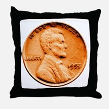 1955 Double Die Lincoln Cent Throw Pillow