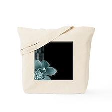 Black and Tiffany Blue Polka Dot Orchid Tote Bag