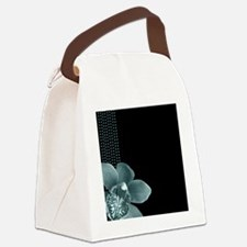 Black and Tiffany Blue Polka Dot  Canvas Lunch Bag
