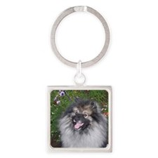 Keeshond Smiling Square Keychain