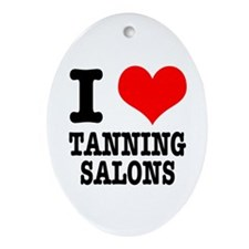 I Heart (Love) Tanning Salons Oval Ornament