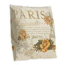 Vintage Paris Burlap Throw Pillow