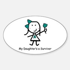 Teal Ribbon - Daughter Oval Decal