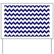 Chevron Zigzag Pattern Navy Blue and Whi Yard Sign
