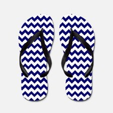 Chevron Zigzag Pattern Navy Blue and Wh Flip Flops