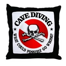 Cave Diving (Skull) Throw Pillow