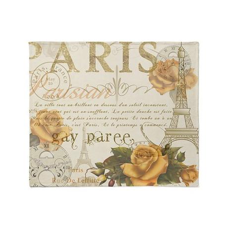 Vintage Paris Throw Blanket