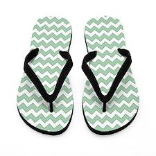 Chevron Zigzag Pattern Mint Green and W Flip Flops