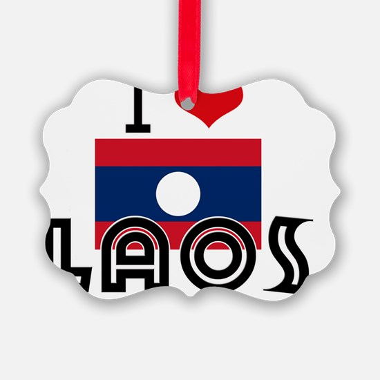 I HEART LAOS FLAG Ornament